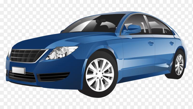 Blue sedan car on transparent background PNG