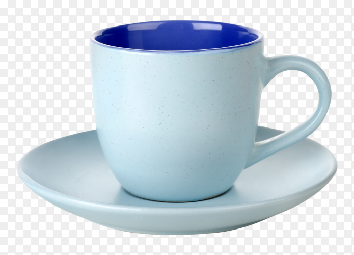 Blue tea cup on transparent background PNG