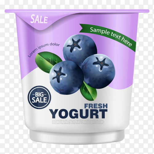 Blueberry yogurt realistic Premium Vector PNG