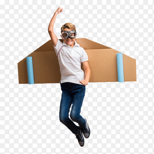 Boy playing jumping with airplane wings cardboard on transparent background PNG