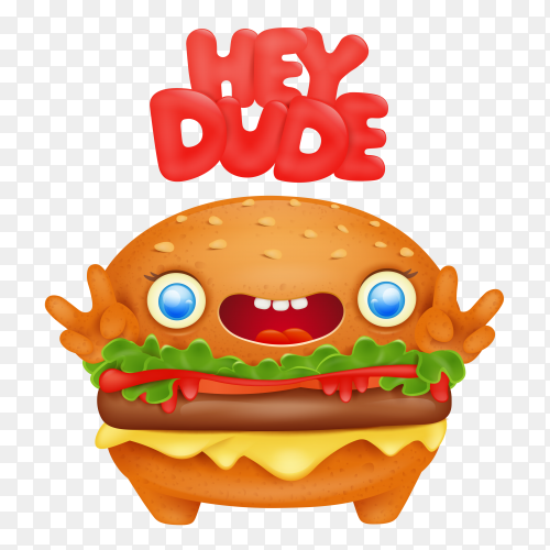 Burger emoji with hey dude title on transparent background PNG