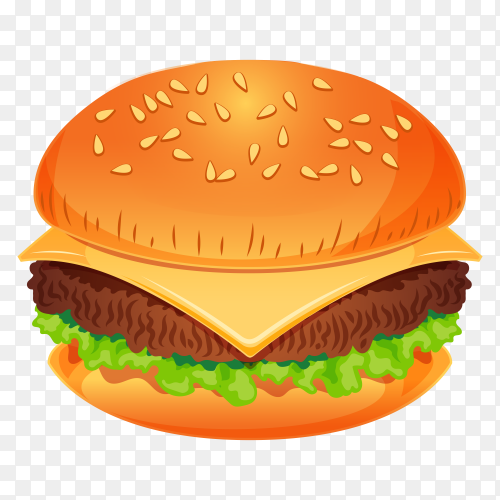Burger sandwitch on transparent background PNG
