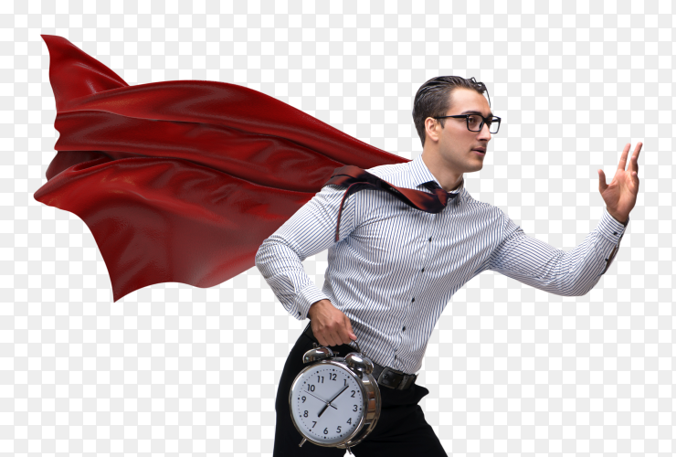 Business man with red cover and carying alarm clock on transparent background PNG