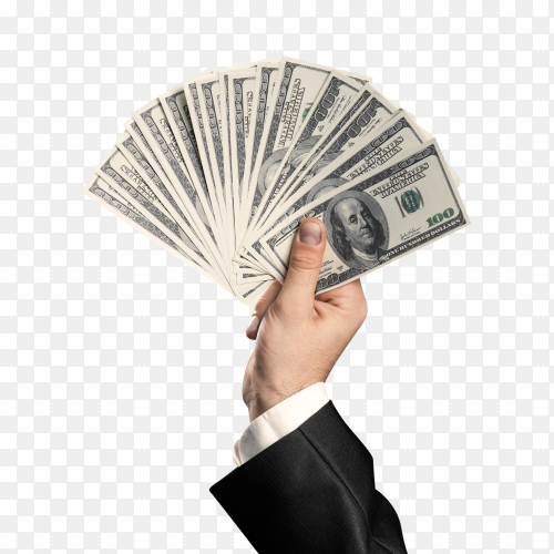 Business mans hand holding money handful of dolllars on transparent background PNG