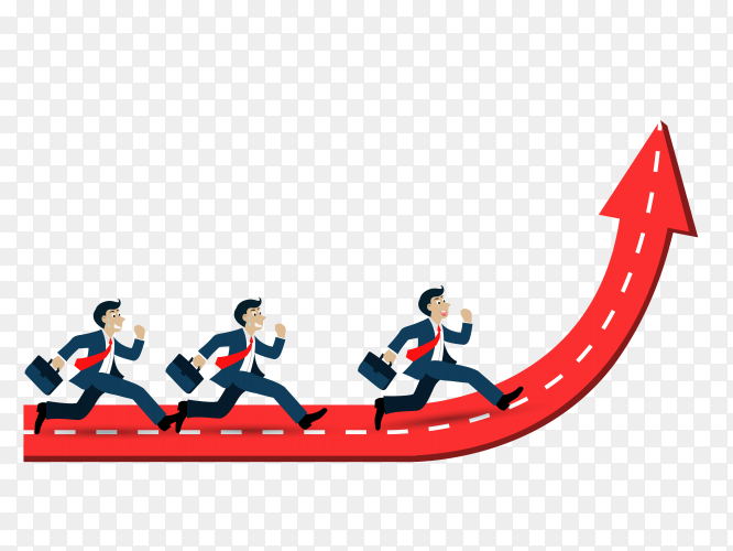 Business mans running on arrow up to succes vector PNG