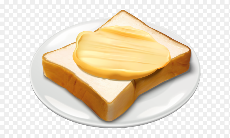 Butter and toasted bread slices in plate vector PNG