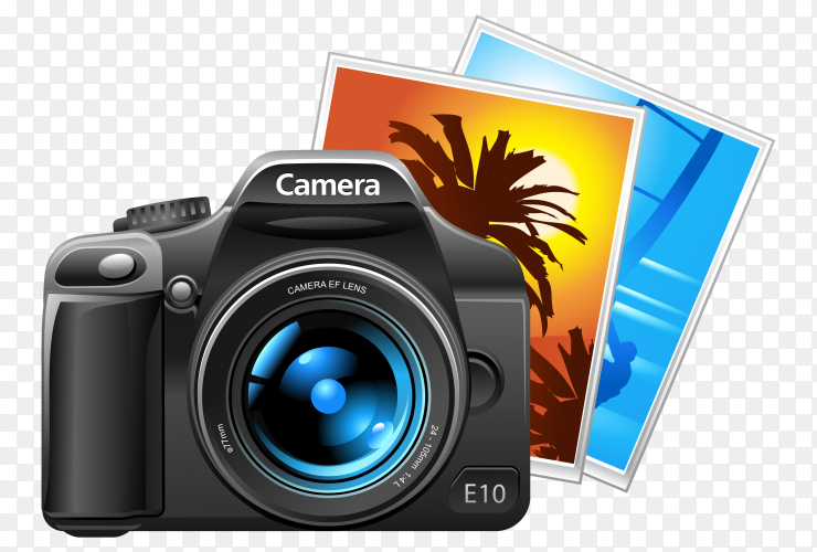 Camera and pictures on transparent PNG