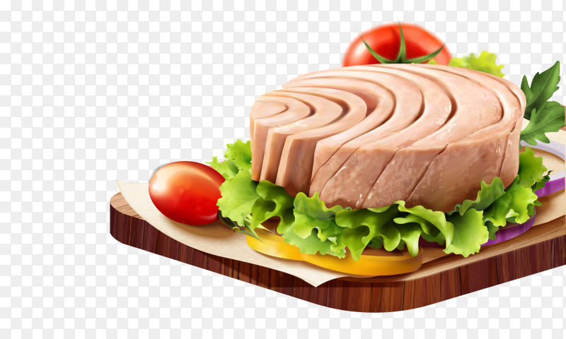 Canned tuna on the plate on transparent background PNG