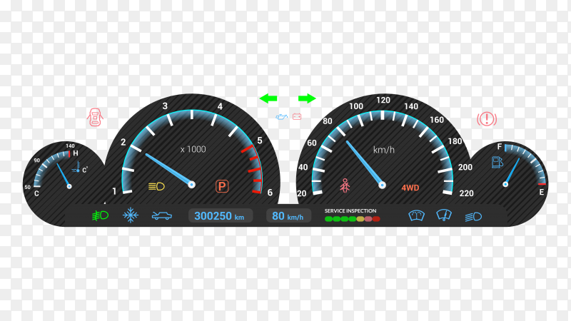Car dashboard on transparent background PNG
