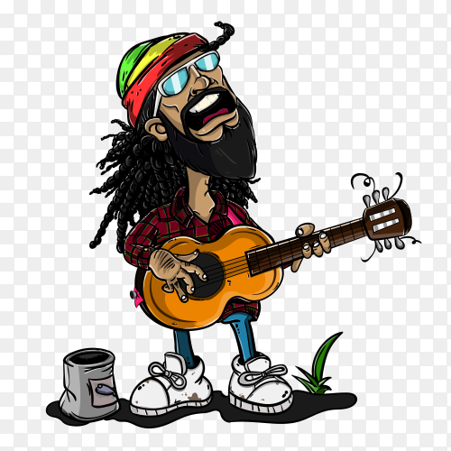 Cartoon Man singing with guitar on transparent background PNG