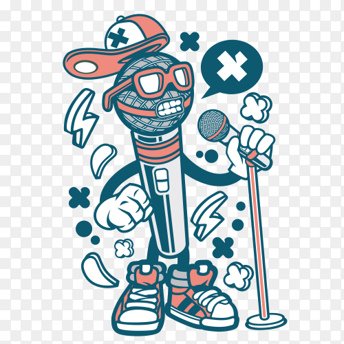 Cartoon Microphone on transparent background PNG