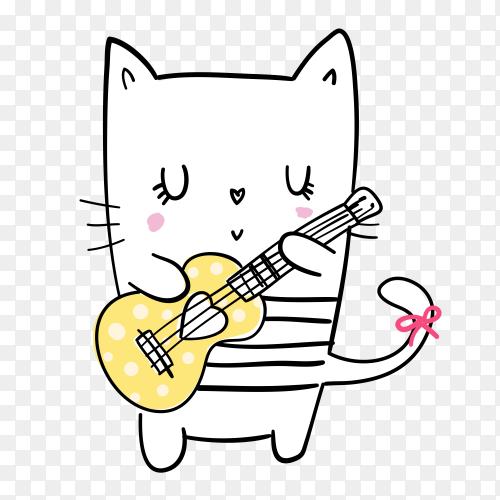 Cartoon cat Playing guitar on transparent background PNG