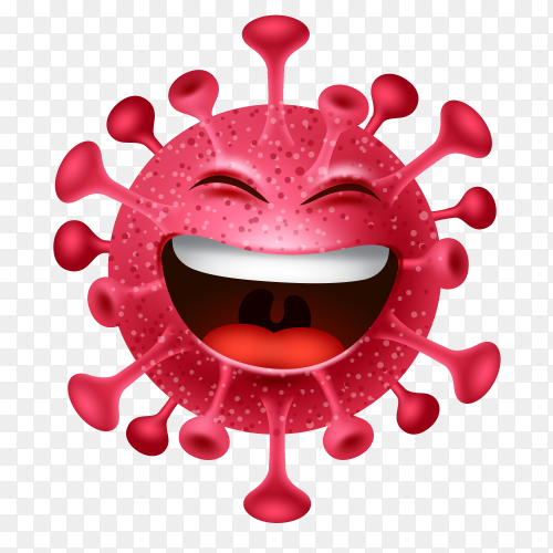 Cartoon characters Happy emojis coronavirus microbes covid-19 Premium vector PNG