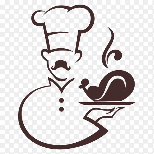 Cartoon chef serving food on transparent background PNG