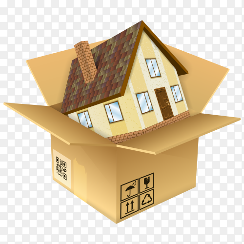 Cartoon house into the box on transparent background PNG