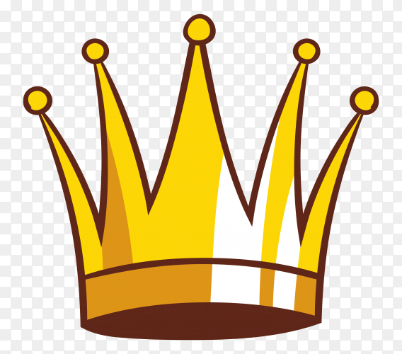Cartoon illustration of crown icon on transparent background PNG