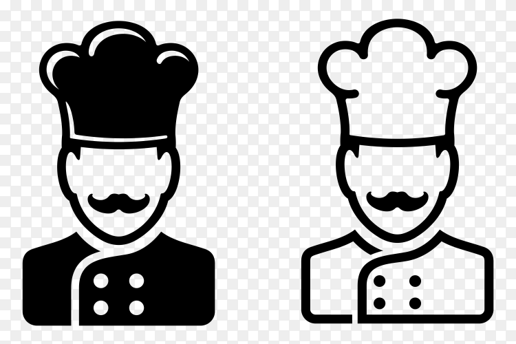 Cartoon male chef on transparent background PNG