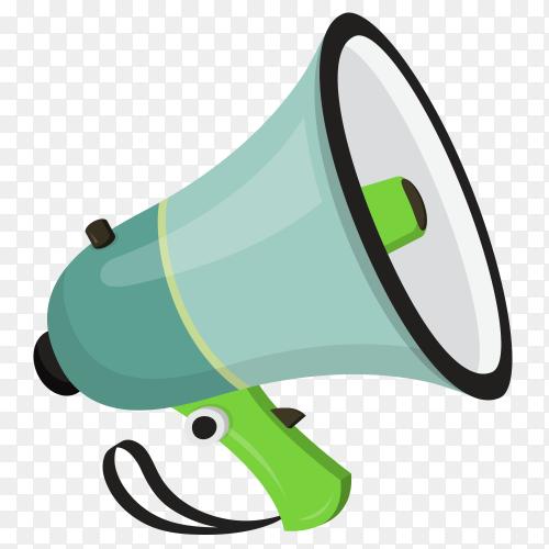 Cartoon megaphone green on transparent background PNG