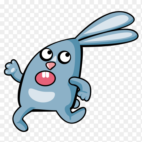 Cartoon rabbit on transparent background PNG