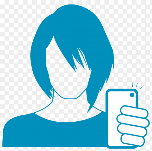 Cartoon woman holding smartphone and takes picture vector PNG