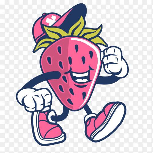 Cartoon Strawberry design on transparent background PNG
