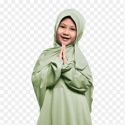 Cheerful muslim girl wearing hijab praying on transparent PNG