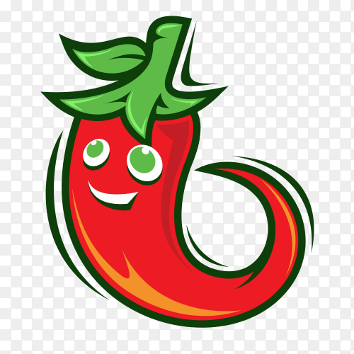 Chili mascot logo on transparent background PNG