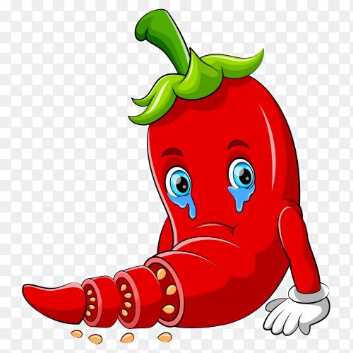 Chili sad character cartoon vector PNG