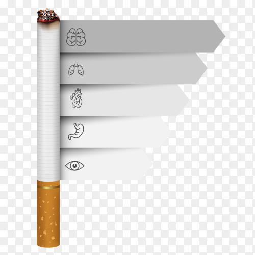 Cigarette design on transparent background PNG