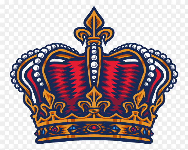 Classic king's crown isolated on transparent PNG