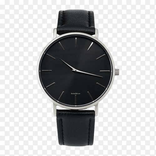 Classic silver watch black dial leather strap on transparent background PNG