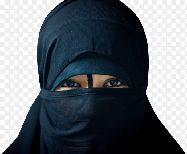 Close up picture of a muslim woman wearing a black veil on transparent background PNG