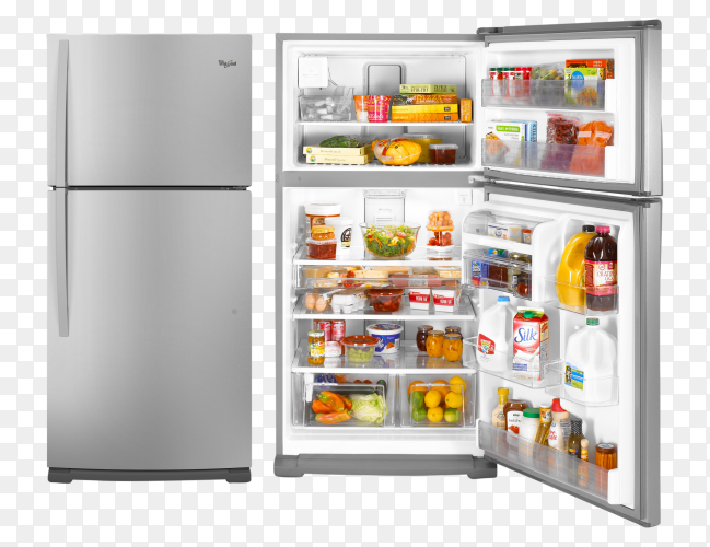Closed and Opened Refrigerator Full Of Food and Drinks on transparent bckground PNG