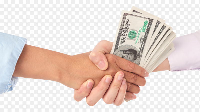 Closeup of handshake with dollar bills in the middle on transparent PNG