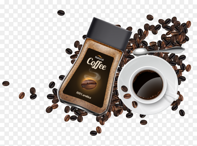 Coffee advertisement realistic composition Clipart PNG