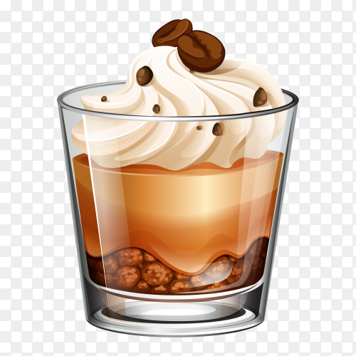 Coffee cake glass on transparent background PNG