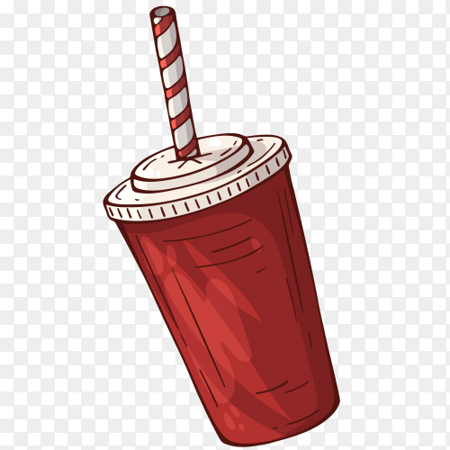 Cola drink in a red plastic pot Clipart PNG