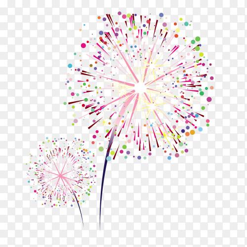 Colorful Fireworks on transparent background PNG