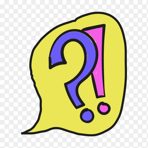 Colorful Question mark  on transparent background PNG