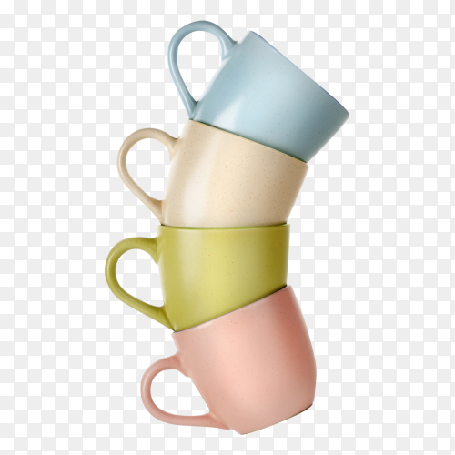 Colorful Stacked coffee cups on transparent PNG