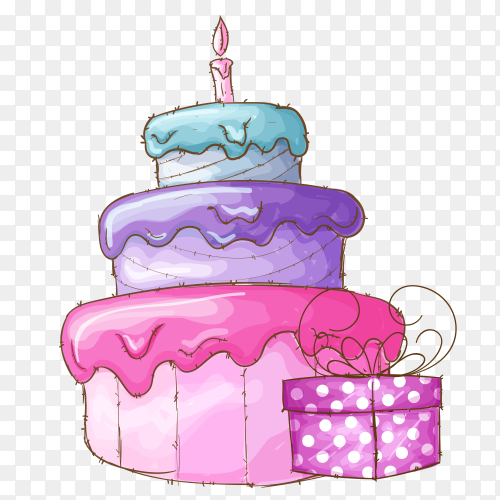 Colorful cake for birthday with gift Clipart PNG