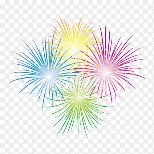 Colorful fireworks celebration on sky on transparent background PNG