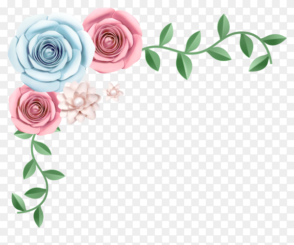 Colorful flower and green leaves Clipart PNG