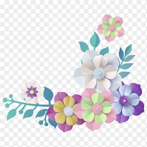 Colorful flower on transparent background PNG