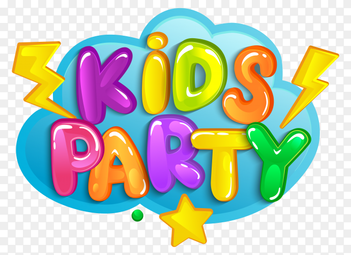 Colorful font Kids party Clipart PNG