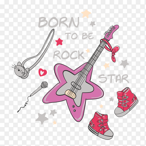 Colorful guitar design on transparent background PNG