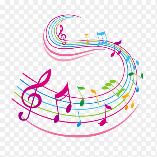 Colorful musical notes Premium Vector PNG