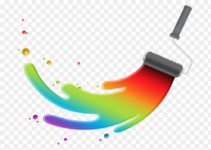 Colorful paint with gray bruch vector PNG