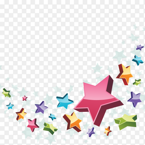 Colorful stars flying on transparent background PNG
