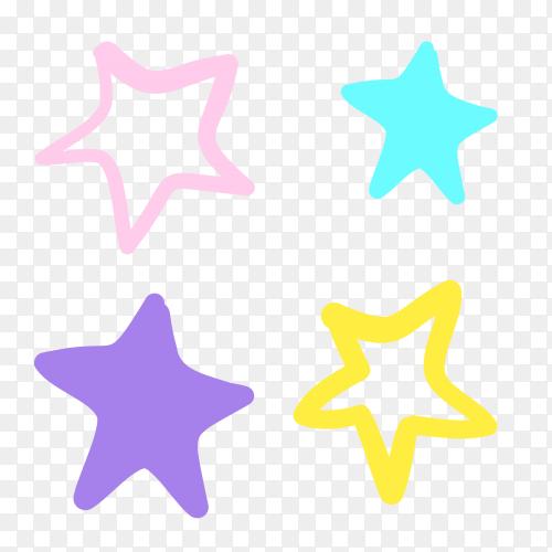 Colorful stars on transparent PNGB